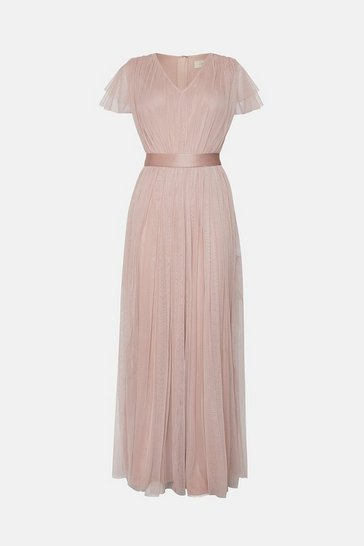 Pink Tulle V-NeckTie Belt Maxi Dress