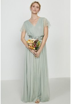 Sage Tulle V-Neck Tie Belt Maxi Dress