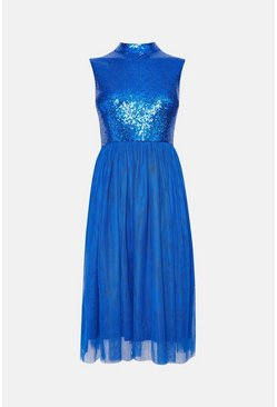 Cobalt High Neck Sequin Bodice Mesh Skirt Dress