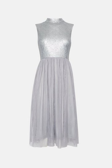 Silver High Neck Sequin Bodice Mesh Skirt Dress