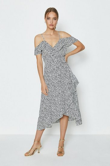 Black Printed Cold Shoulder Wrap Dress