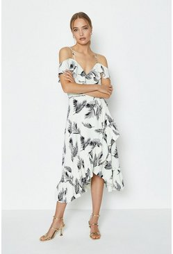 Ivory Printed Cold Shoulder Wrap Dress