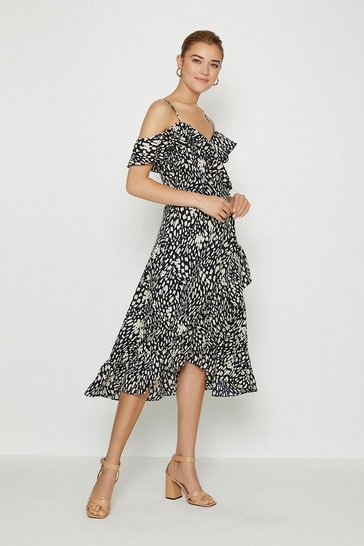 Navy Printed Cold Shoulder Wrap Dress