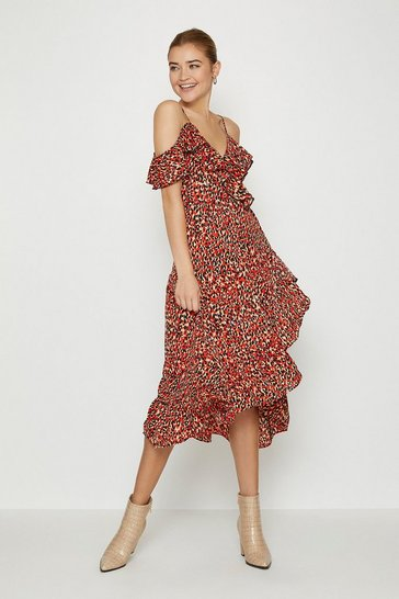 Red Printed Cold Shoulder Wrap Dress