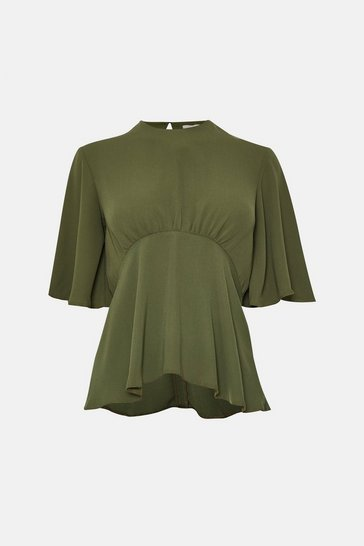 Khaki Flare Sleeve Top
