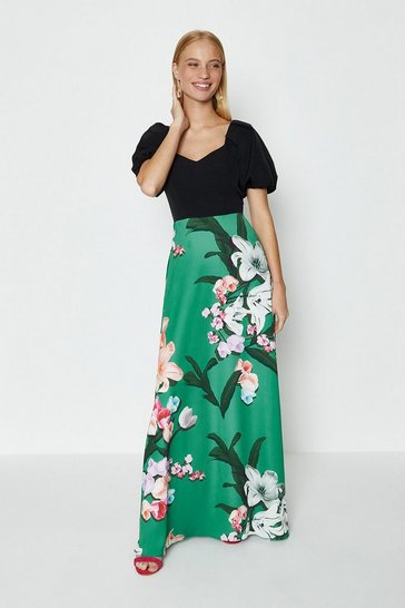 Green Solid Bodice Printed Skirt Maxi Dress