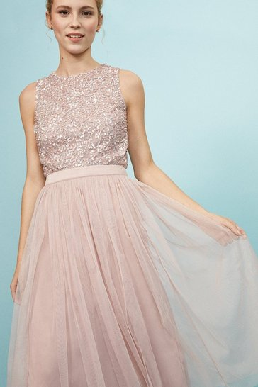 Blush Pleated Mesh Midi Skirt