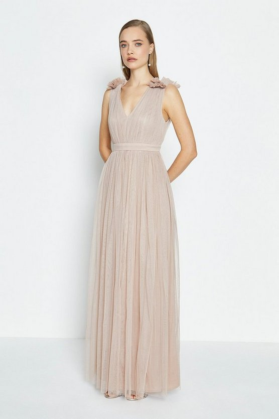 Nude Sleeveless Tulle Maxi Dress