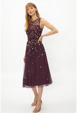 Berry Cluster Embellished Midi Dress