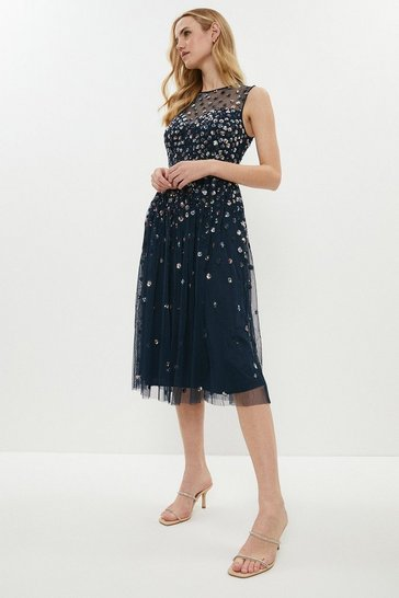 Navy Cluster Embellished Midi Dress