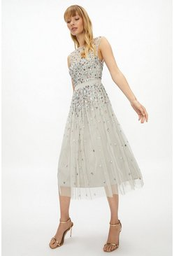 Silver Cluster Embellished Midi Dress
