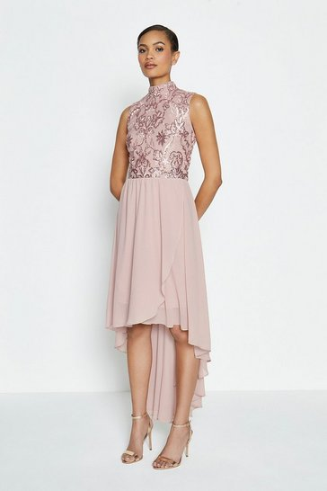 Blush Beaded Bodice Soft Dip Hem Dress