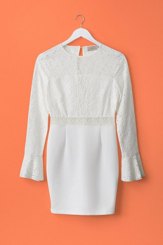 Cream Long Sleeve Lace Short Shift Dress