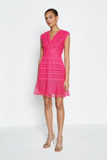 Cerise Lace Frill Hem Wrap Dress
