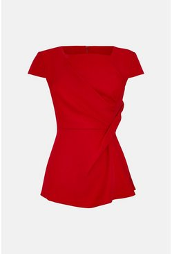Red Short Sleeve Tuck Front Shell Top