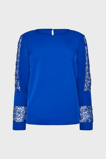 Blue Long Sleeve Lace Insert Top