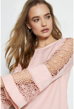 Blush Long Sleeve Lace Insert Top