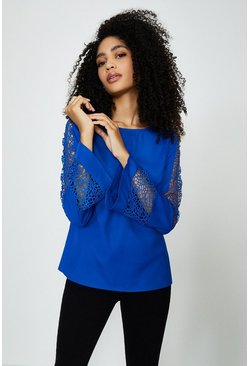 Cobalt Long Sleeve Lace Insert Top