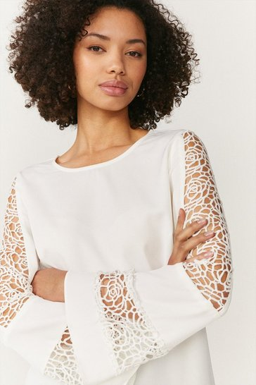 Cream Long Sleeve Lace Insert Top