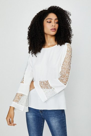 White Long Sleeve Lace Insert Top
