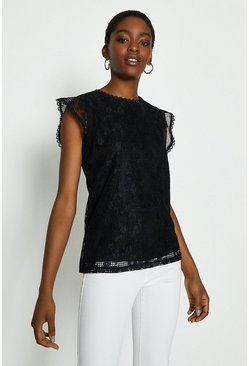 Black Frill Cap Sleeve Lace Shell Top