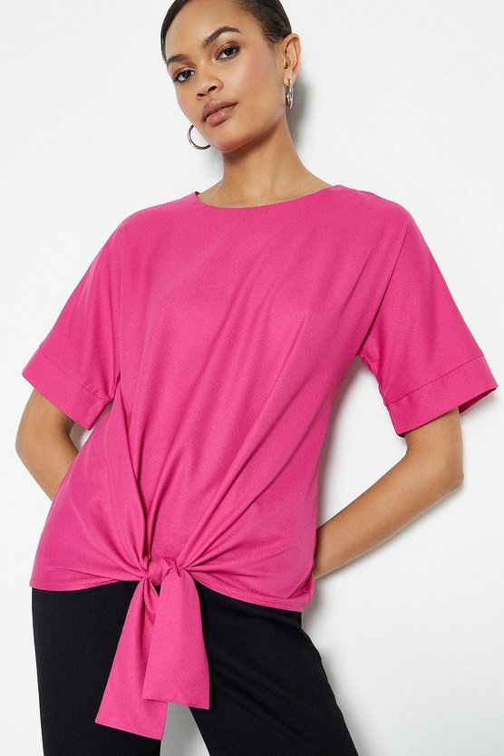 Cerise Short Sleeve Tie Front Top