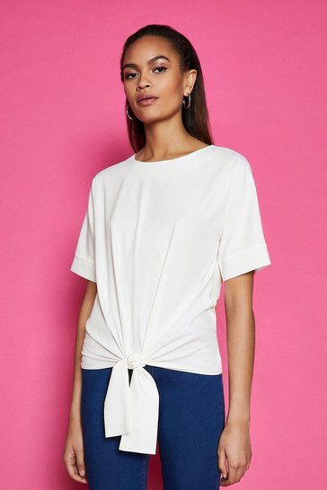 White Short Sleeve Tie Front Top