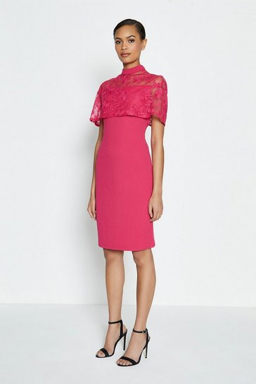 Fuchsia Caped Embroidered Shift Dress