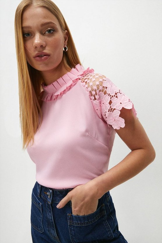 Blush Lace Sleeved Shell Top