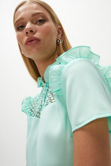 Apple green Lace Yoke Frill Shell Top