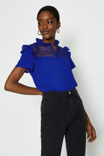 Cobalt Lace Yoke Frill Shell Top