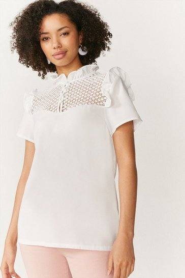 Ivory Lace Yoke Frill Shell Top