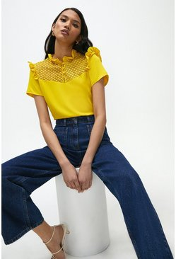 Yellow Lace Yoke Frill Shell Top
