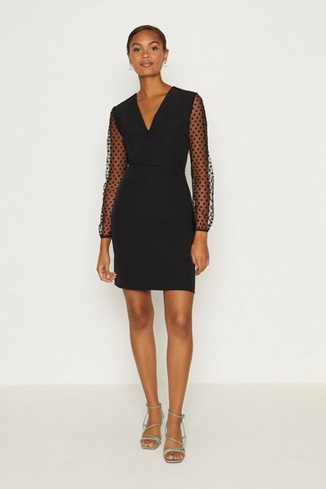 Black Polkadot Mesh Sleeve Pencil Dress