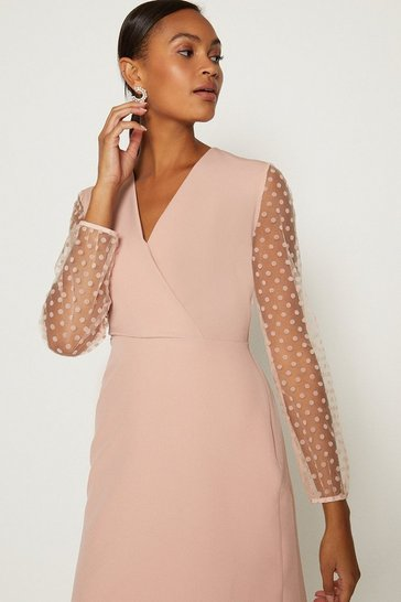 Blush Polkadot Mesh Sleeve Pencil Dress