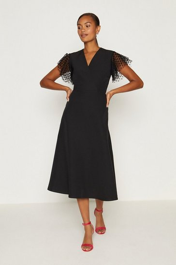 Black Polkadot Mesh Short Sleeve Fit And Flare Dress