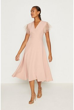Blush Polkadot Mesh Short Sleeve Fit And Flare Dress