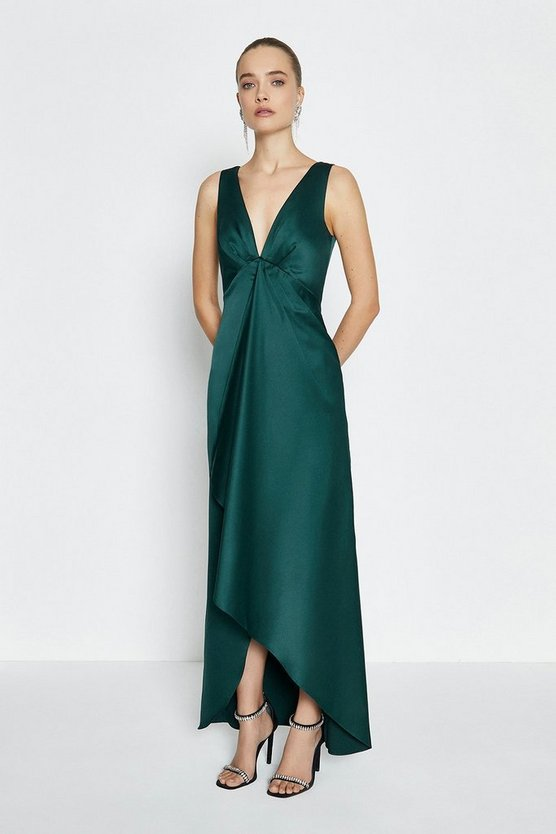 Green Satin Plunge High Low Maxi Dress