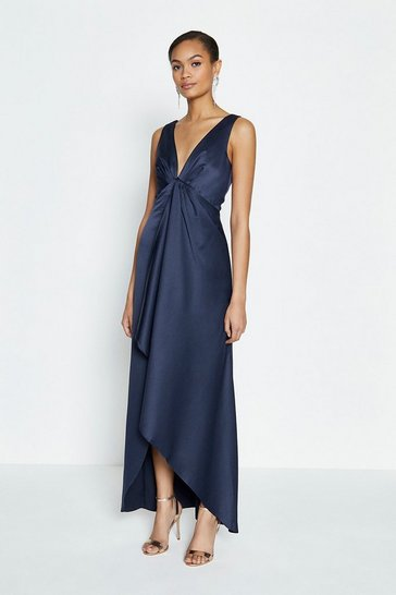 Navy Satin Plunge High Low Maxi Dress