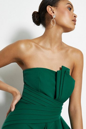 Emerald Drape Wrap Detail Bandeau Maxi Dress