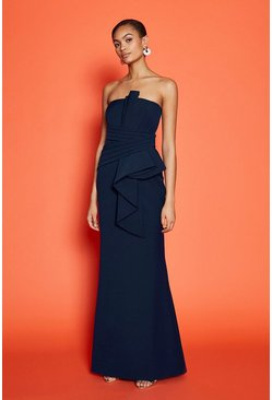 Navy Drape Wrap Detail Bandeau Maxi Dress