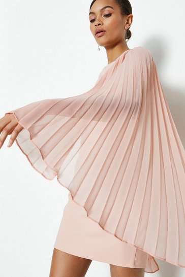 Nude Open Back Pleated Cape Short Dress