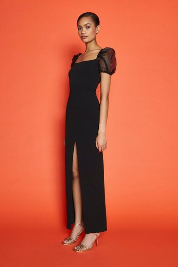 Black Organza Puff Sleeve Split Maxi Dress