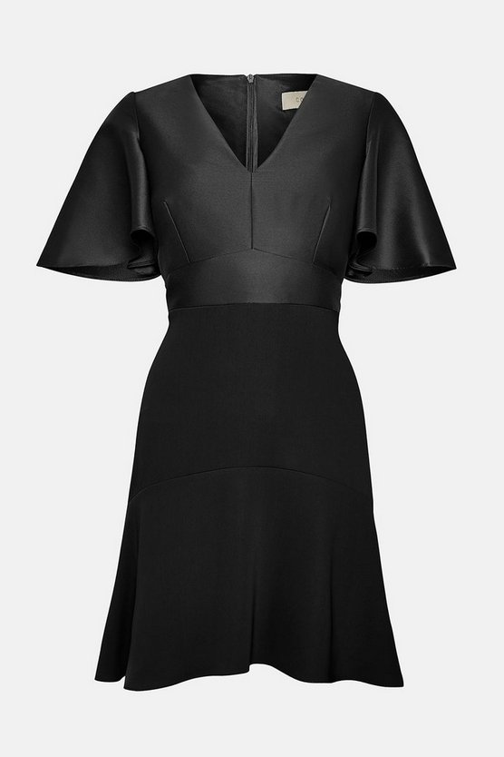 Black Twill Angel Sleeve Skater Dress
