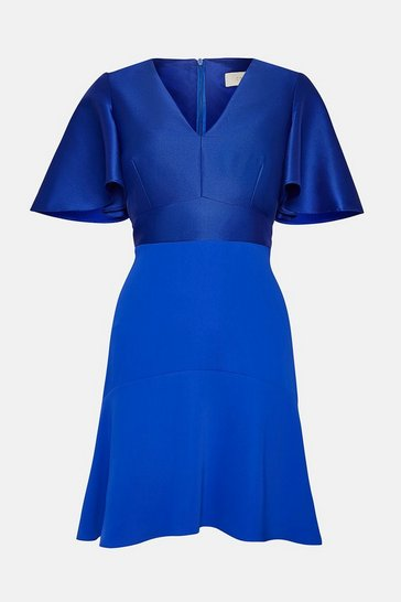 Cobalt Twill Angel Sleeve Skater Dress