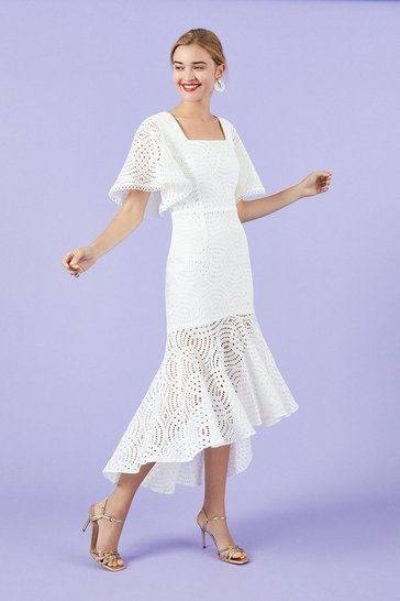 Ivory Lace Peplum Hem Dress