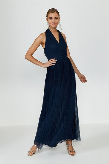 Navy Pleat Mesh Skirt Maxi Dress