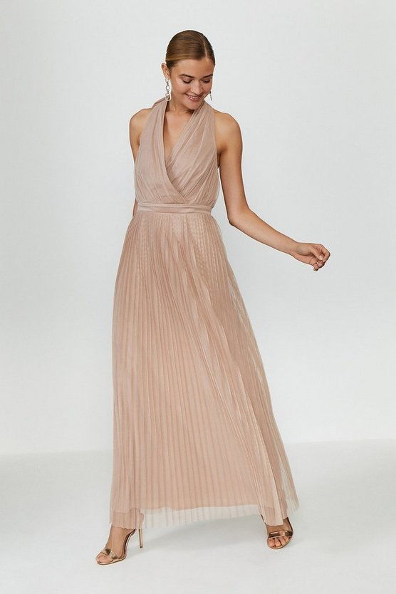 Nude Pleat Mesh Skirt Maxi Dress