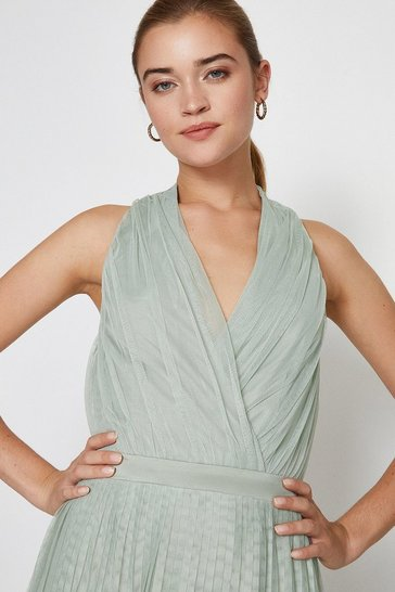 Sage Pleat Mesh Skirt Maxi Dress