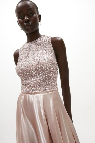 Blush All Over Sequin Cropped Top